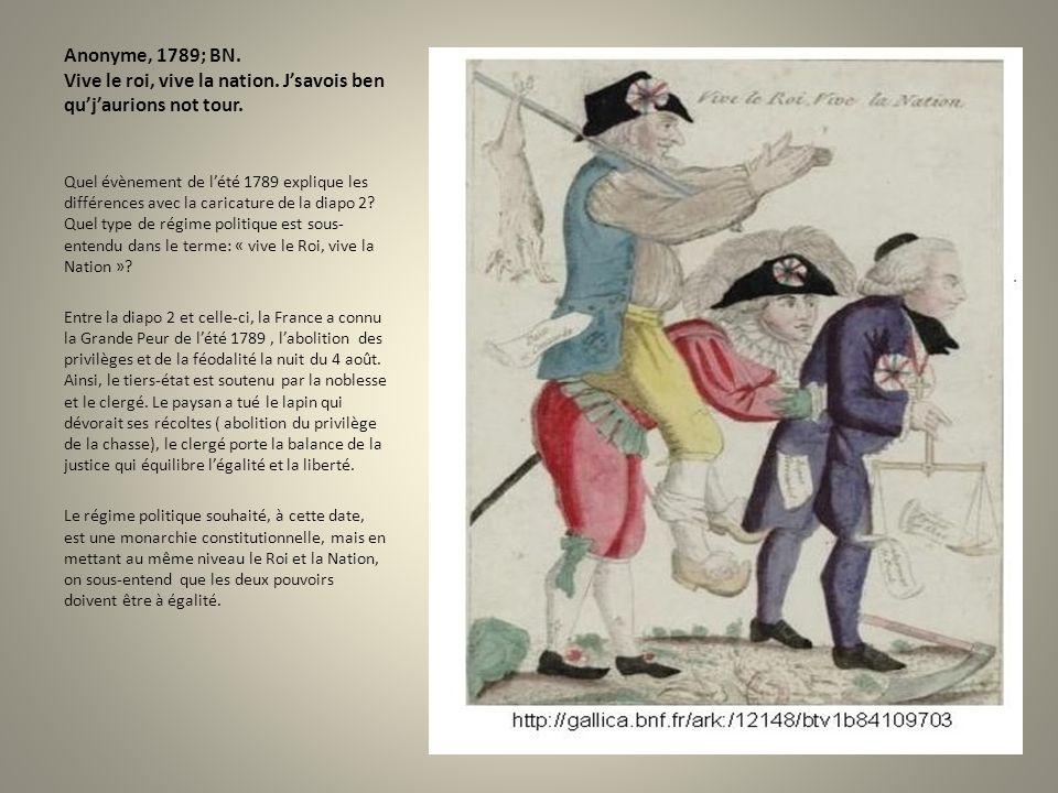 Anonyme, 1789; BN. Vive le roi, vive la nation
