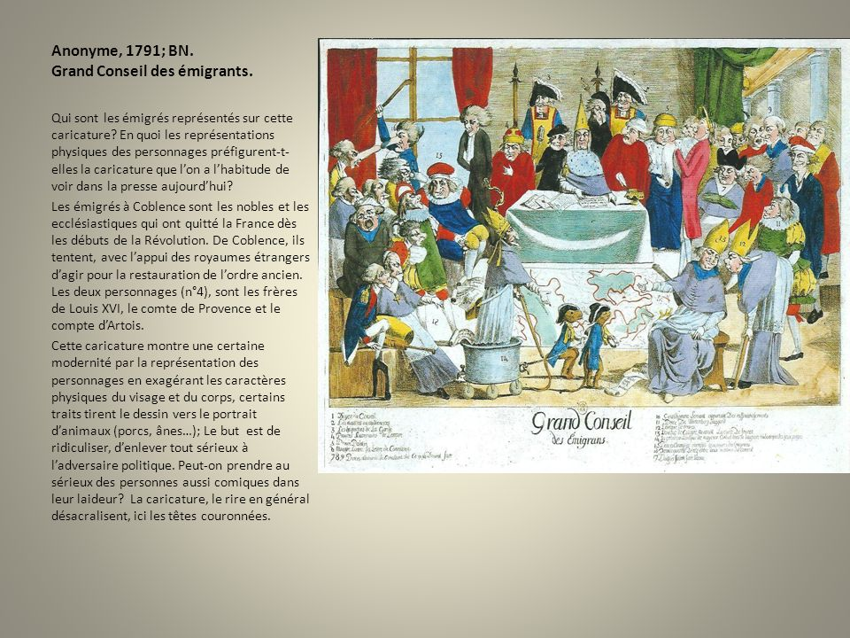Anonyme, 1791; BN. Grand Conseil des émigrants.