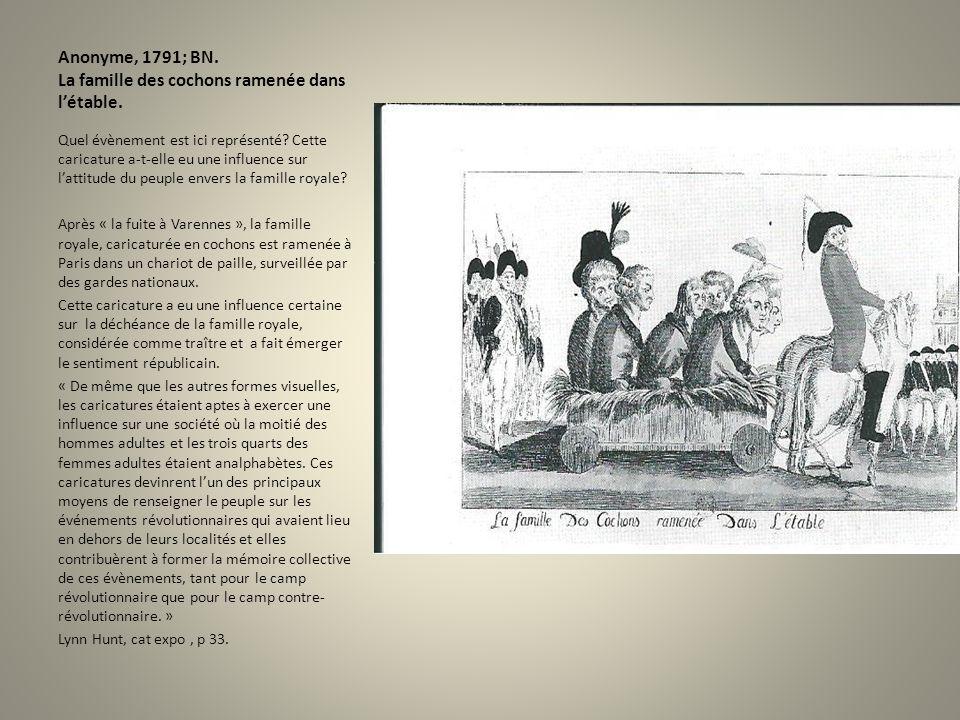 Anonyme, 1791; BN. La famille des cochons ramenée dans l'étable.