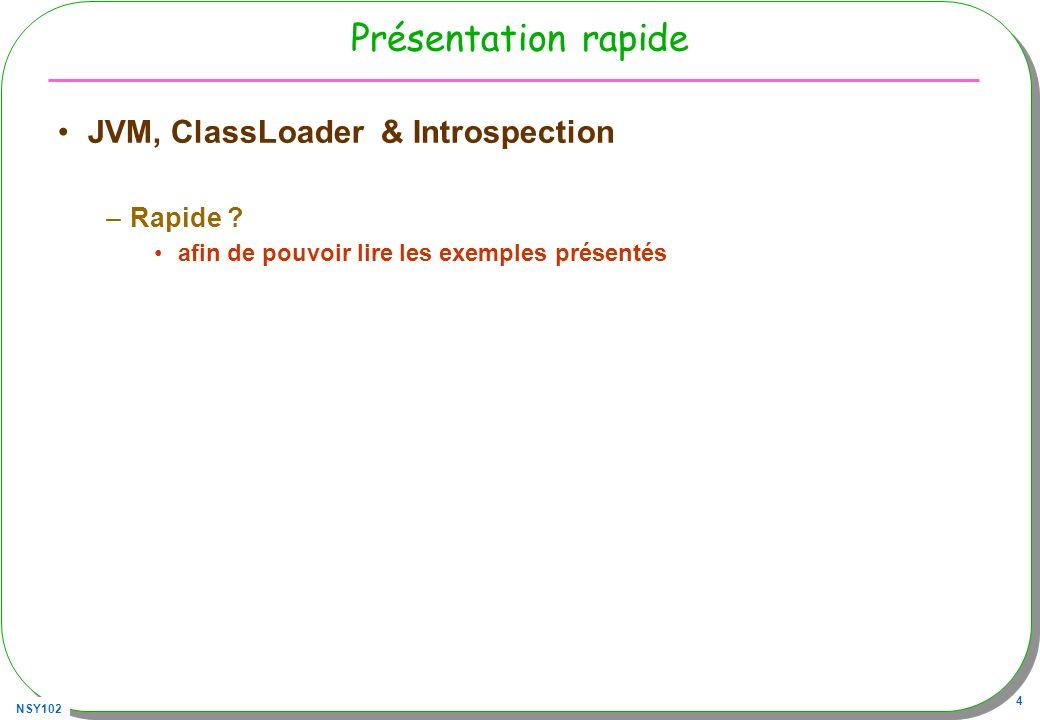Présentation rapide JVM, ClassLoader & Introspection Rapide