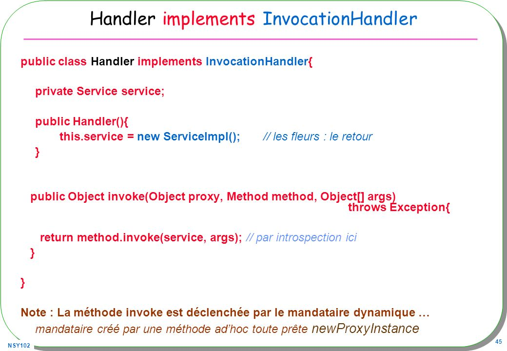 Handler implements InvocationHandler