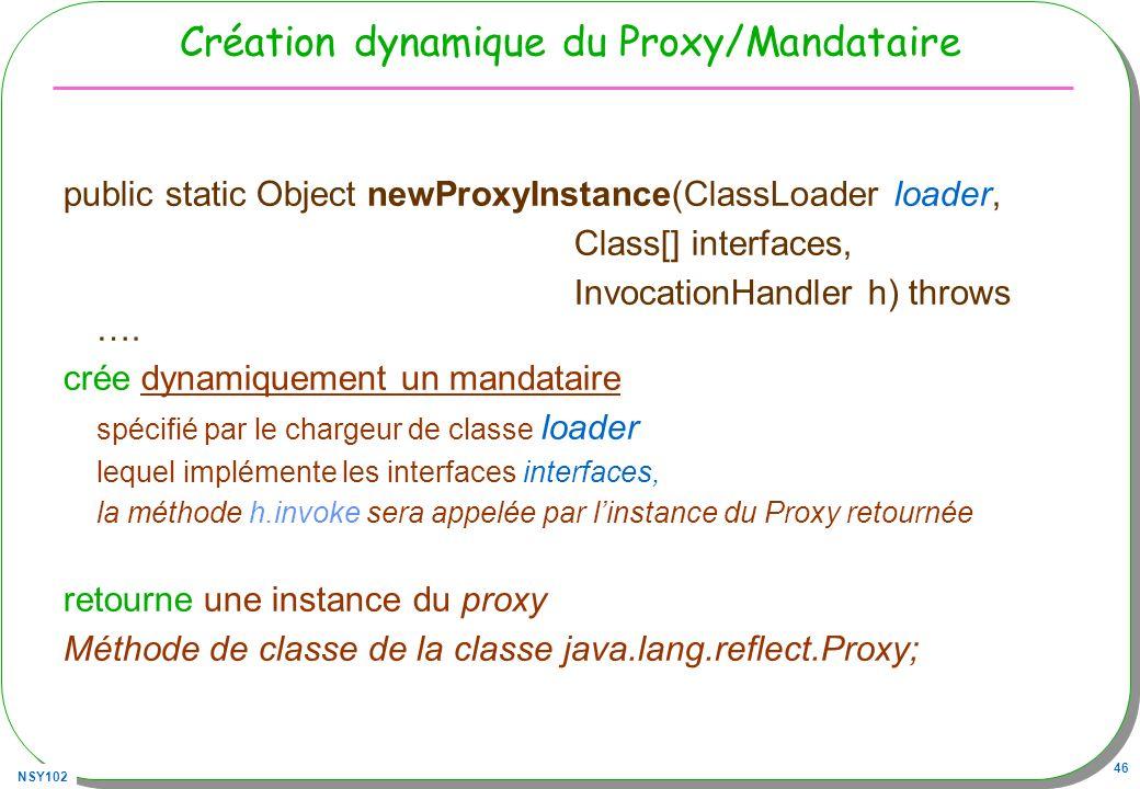 Création dynamique du Proxy/Mandataire