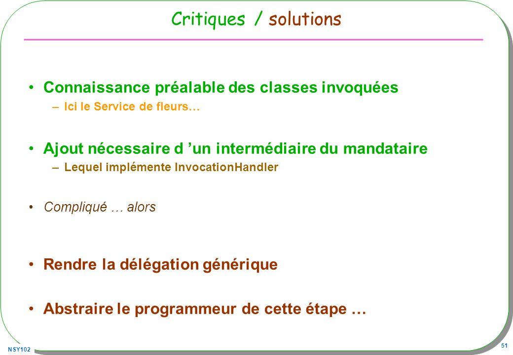 Critiques / solutions Connaissance préalable des classes invoquées