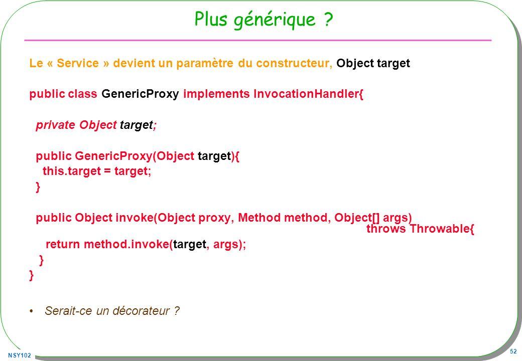 Plus générique Le « Service » devient un paramètre du constructeur, Object target. public class GenericProxy implements InvocationHandler{
