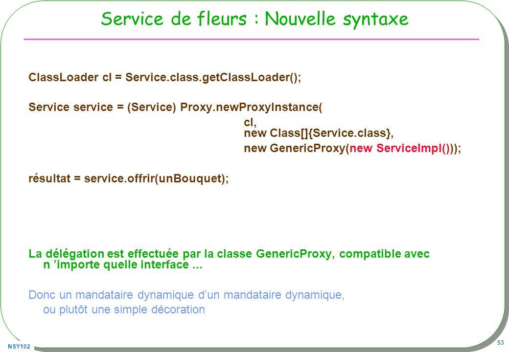 Service de fleurs : Nouvelle syntaxe