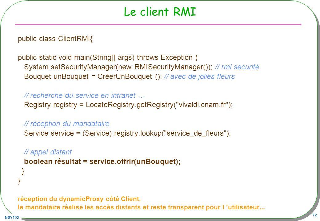 Le client RMI public class ClientRMI{