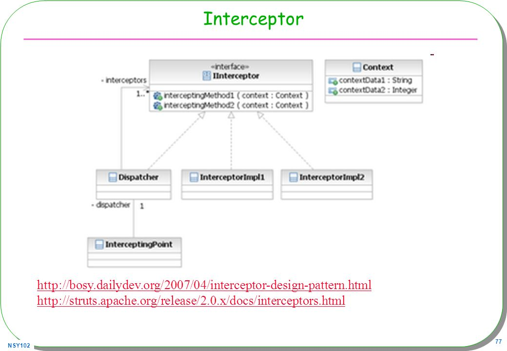 Interceptor http://bosy.dailydev.org/2007/04/interceptor-design-pattern.html.