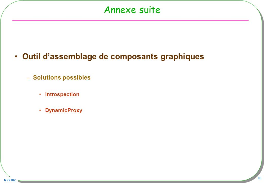 Annexe suite Outil d'assemblage de composants graphiques