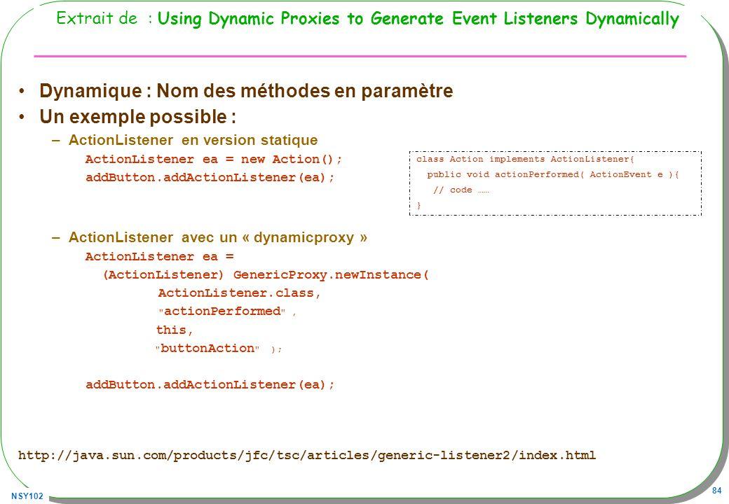 Dynamique : Nom des méthodes en paramètre Un exemple possible :