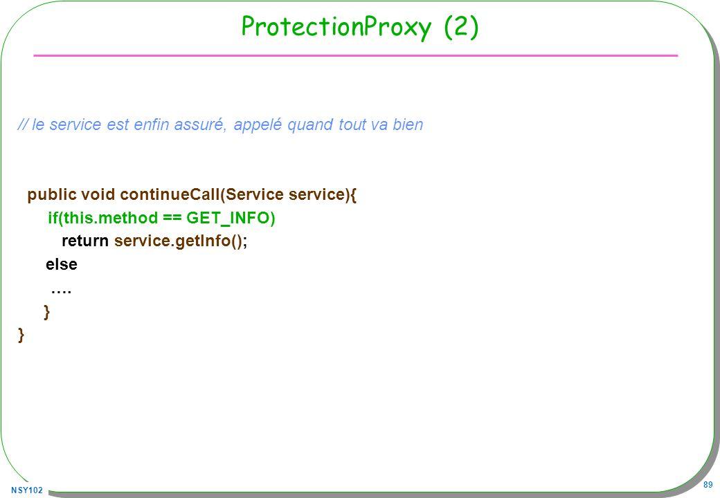 ProtectionProxy (2) // le service est enfin assuré, appelé quand tout va bien. public void continueCall(Service service){
