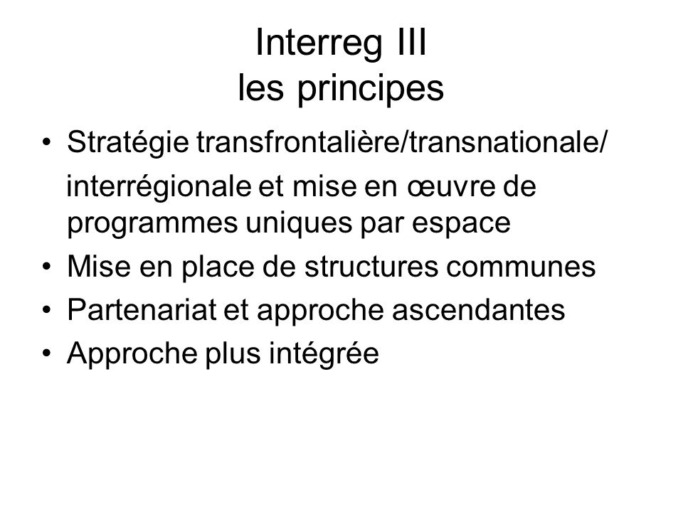 Interreg III les principes