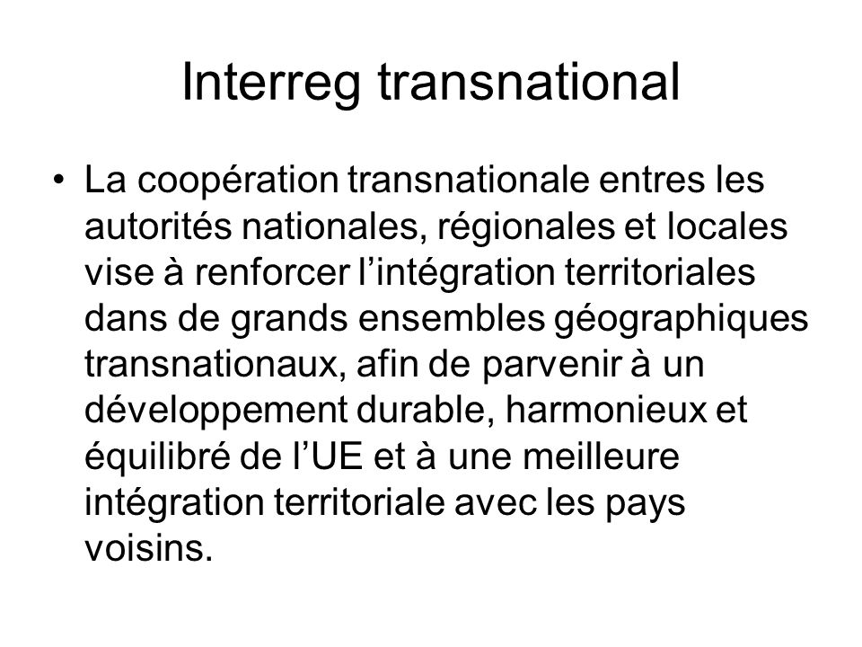 Interreg transnational