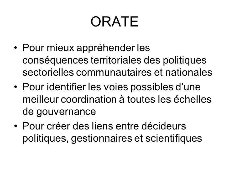 ORATE Pour mieux appréhender les conséquences territoriales des politiques sectorielles communautaires et nationales.
