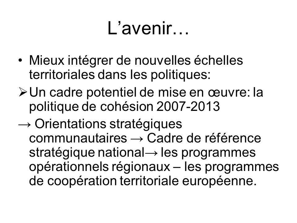 L'avenir… Mieux intégrer de nouvelles échelles territoriales dans les politiques: