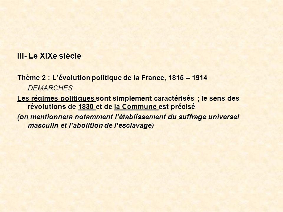 III- Le XIXe siècleThème 2 : L'évolution politique de la France, 1815 – 1914. DEMARCHES.