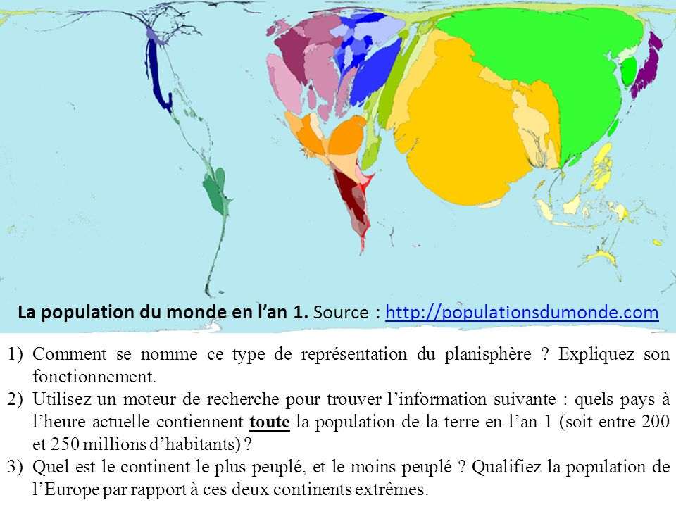 La population du monde en l'an 1. Source : http://populationsdumonde