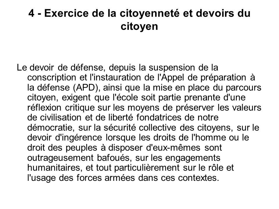 4 - Exercice de la citoyenneté et devoirs du citoyen