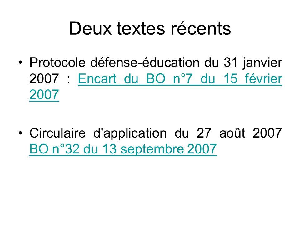 Deux textes récentsProtocole défense-éducation du 31 janvier 2007 : Encart du BO n°7 du 15 février 2007.