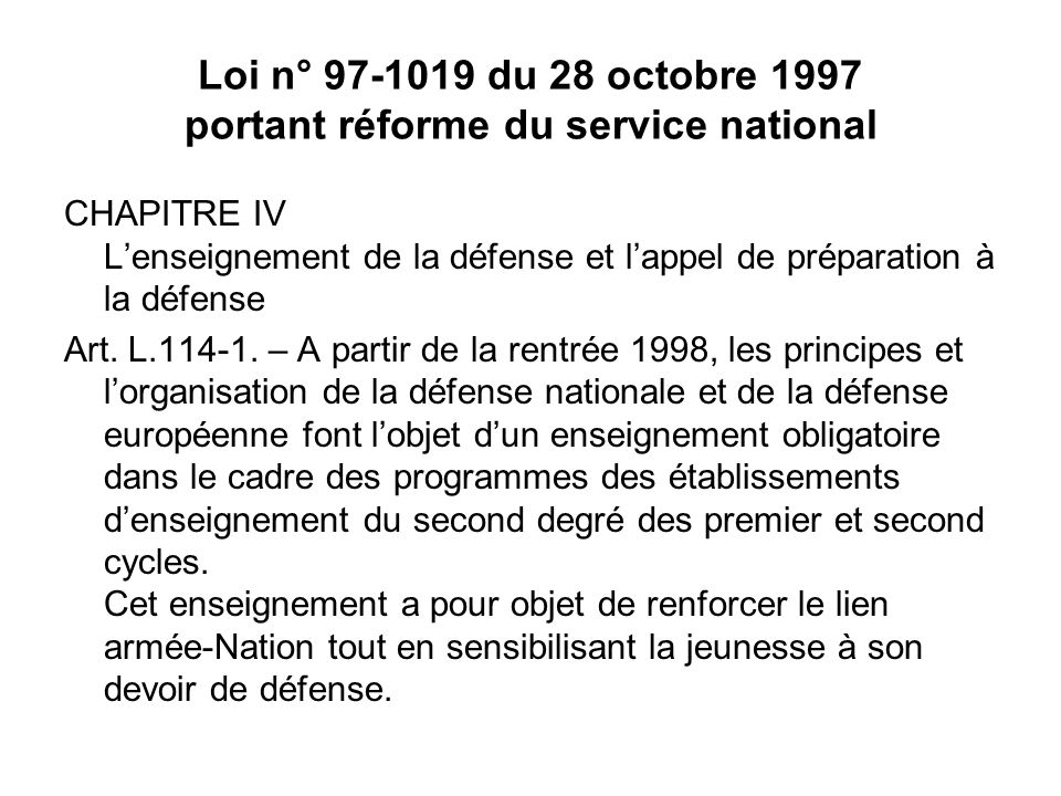 Loi n° 97-1019 du 28 octobre 1997 portant réforme du service national