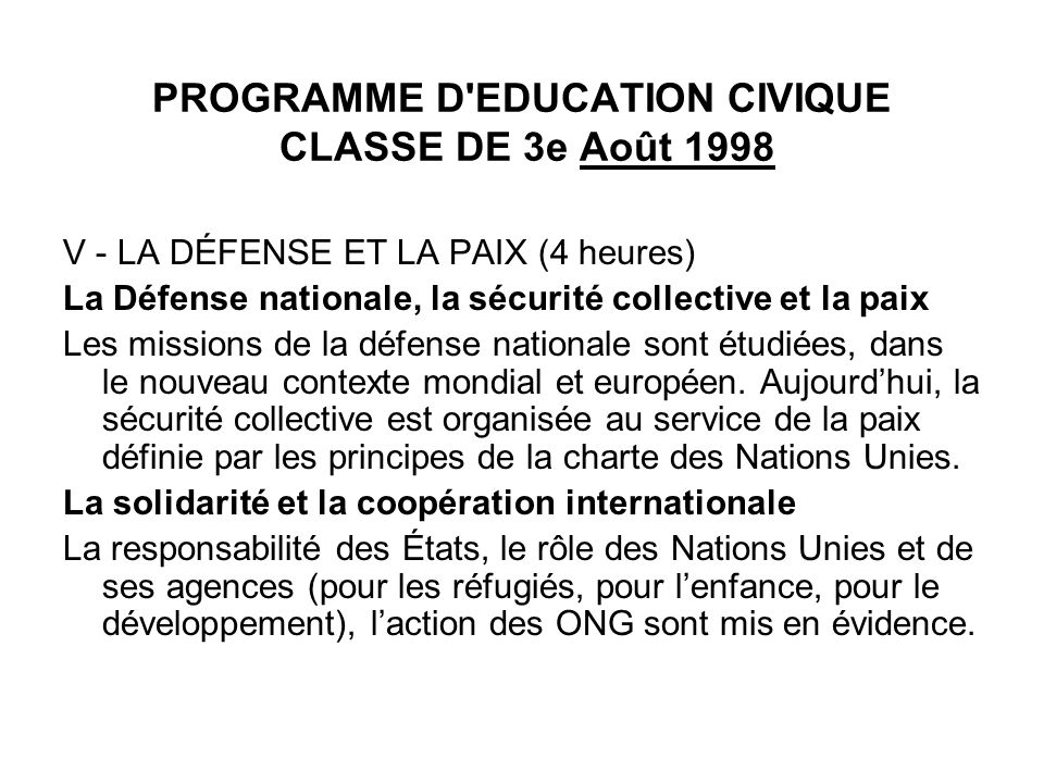 PROGRAMME D EDUCATION CIVIQUE CLASSE DE 3e Août 1998