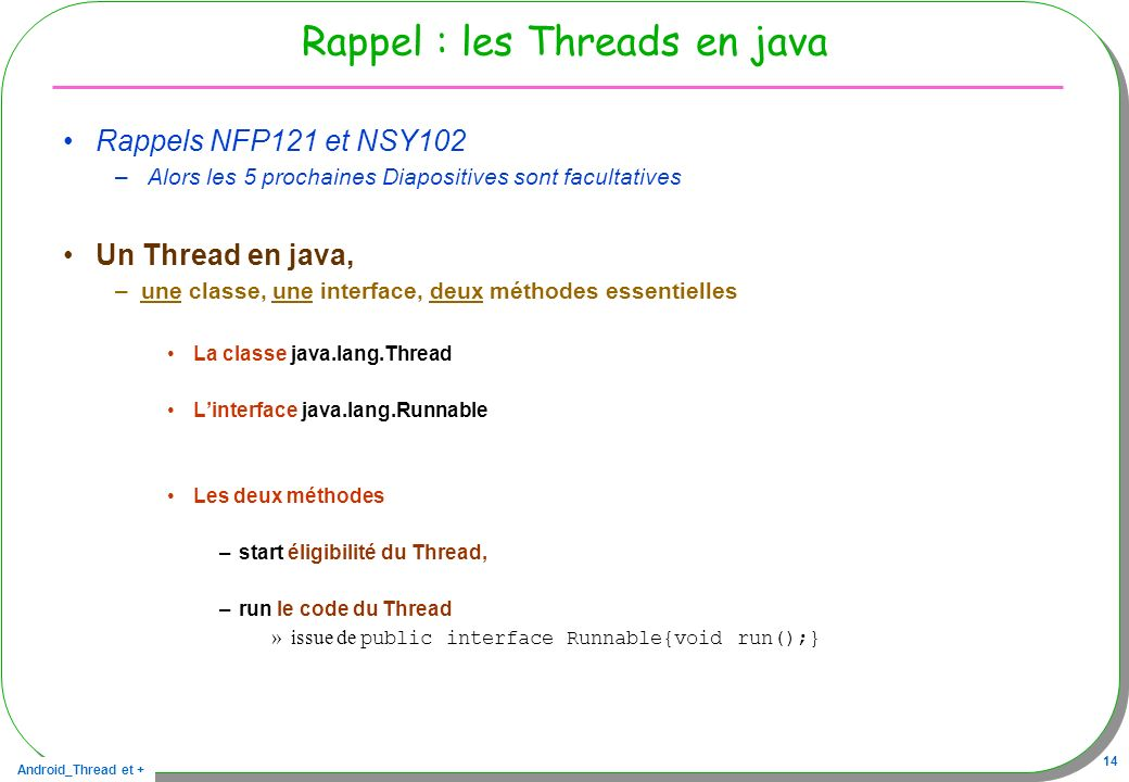 Rappel : les Threads en java