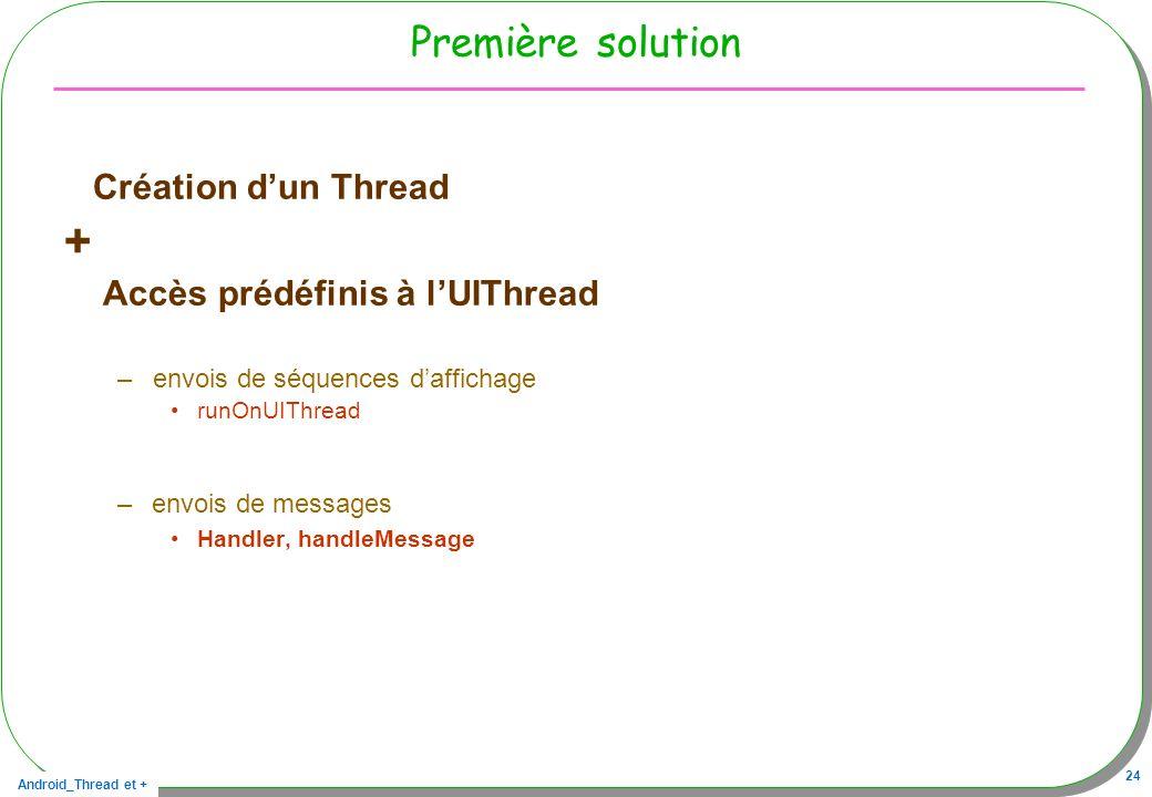 + Première solution Création d'un Thread Accès prédéfinis à l'UIThread