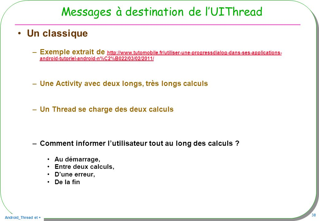 Messages à destination de l'UIThread