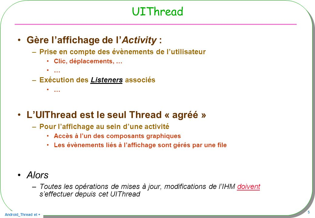 UIThread Gère l'affichage de l'Activity :