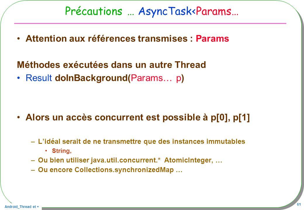 Précautions … AsyncTask<Params…