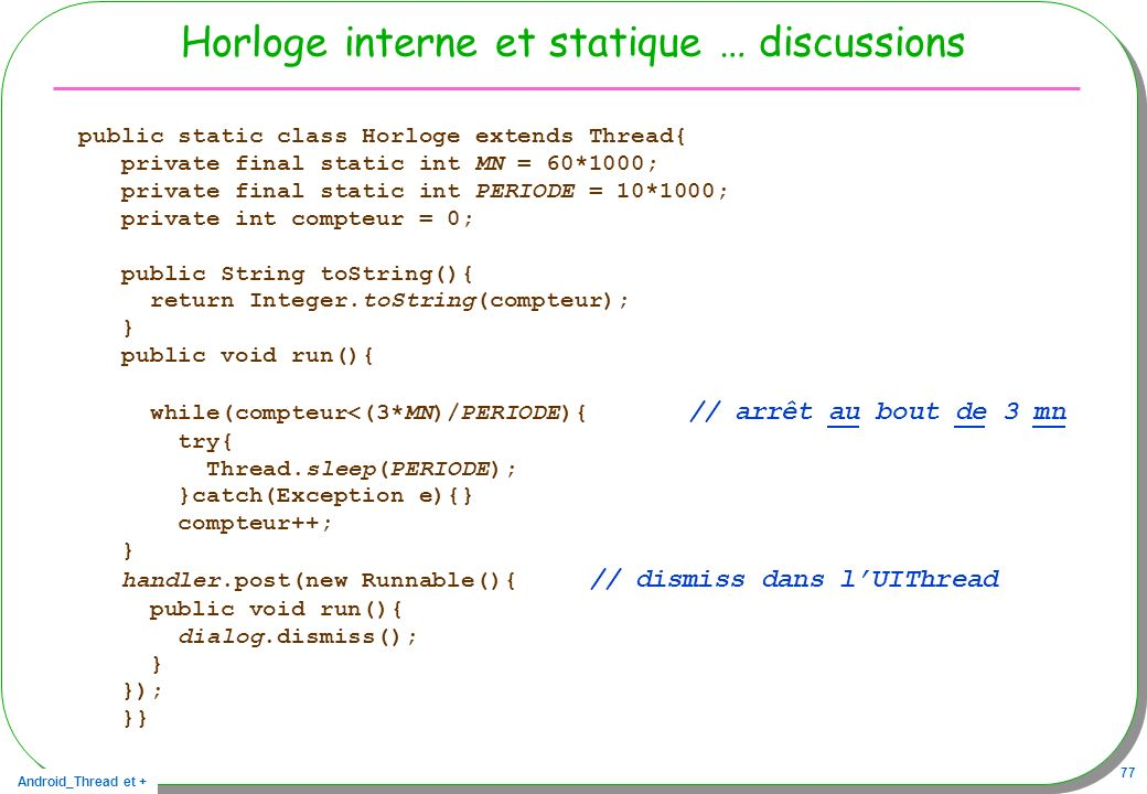 Horloge interne et statique … discussions