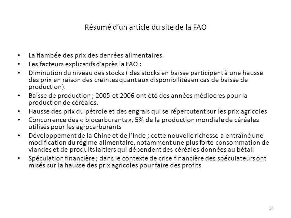 Résumé d'un article du site de la FAO