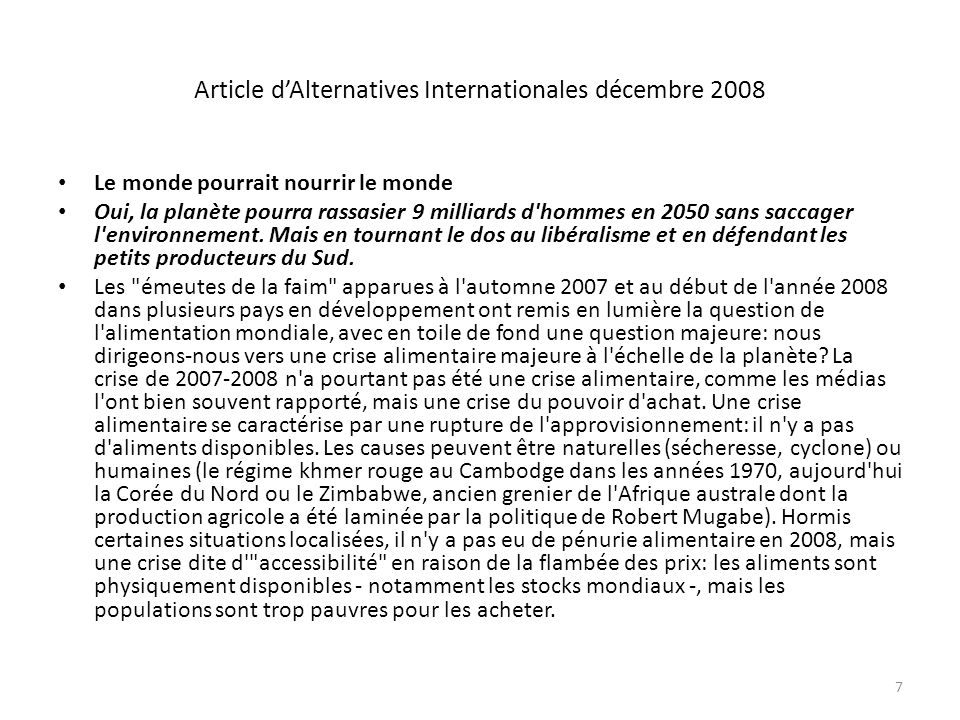 Article d'Alternatives Internationales décembre 2008