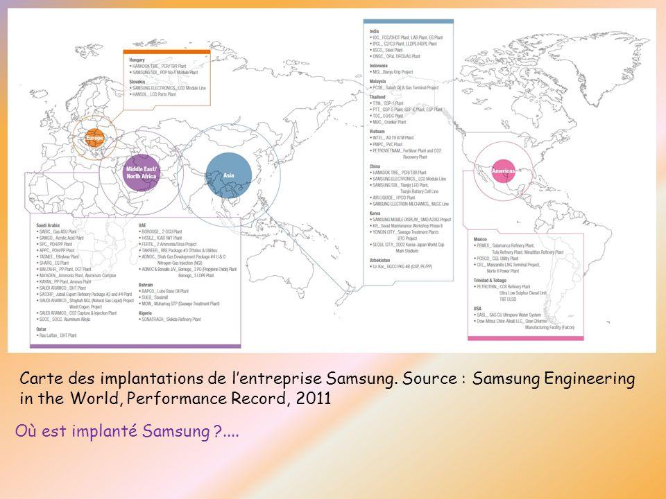 Carte des implantations de l'entreprise Samsung