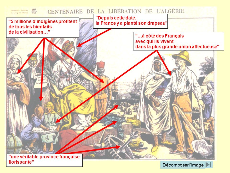 Depuis cette date, la France y a planté son drapeau 5 millions d indigènes profitent. de tous les bienfaits.