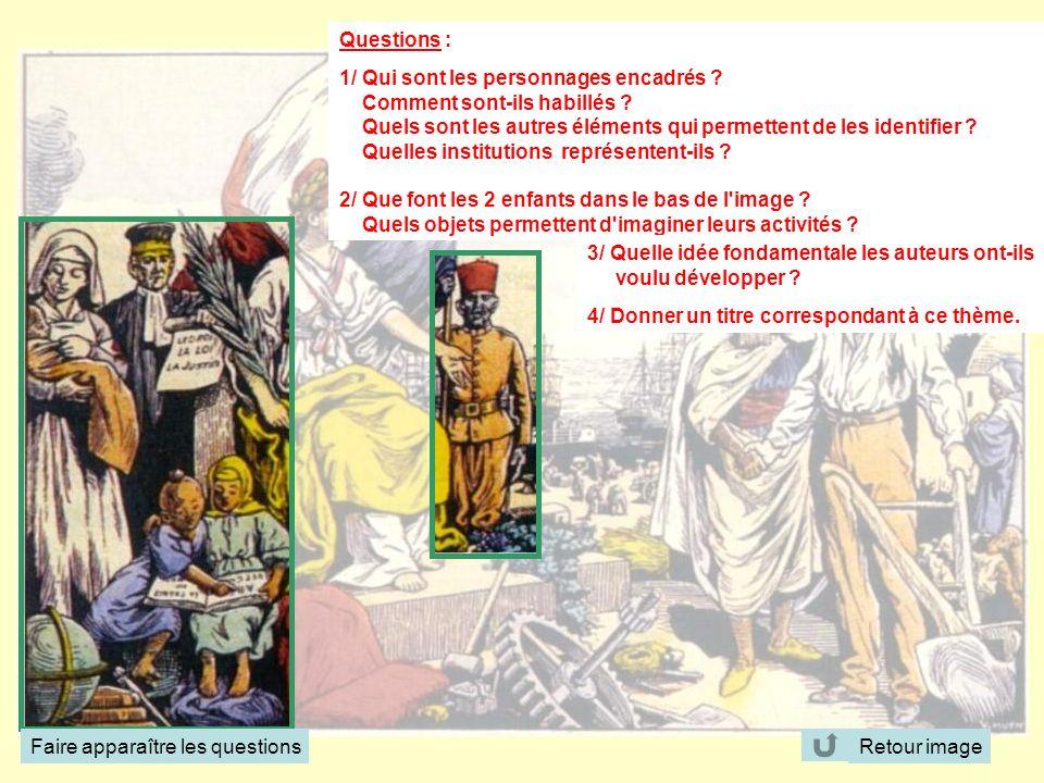 Questions : 1/ Qui sont les personnages encadrés Comment sont-ils habillés Quels sont les autres éléments qui permettent de les identifier