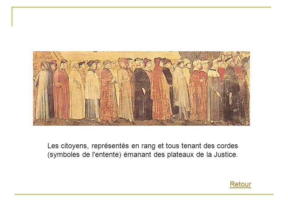 Les citoyens, représentés en rang et tous tenant des cordes (symboles de l entente) émanant des plateaux de la Justice.