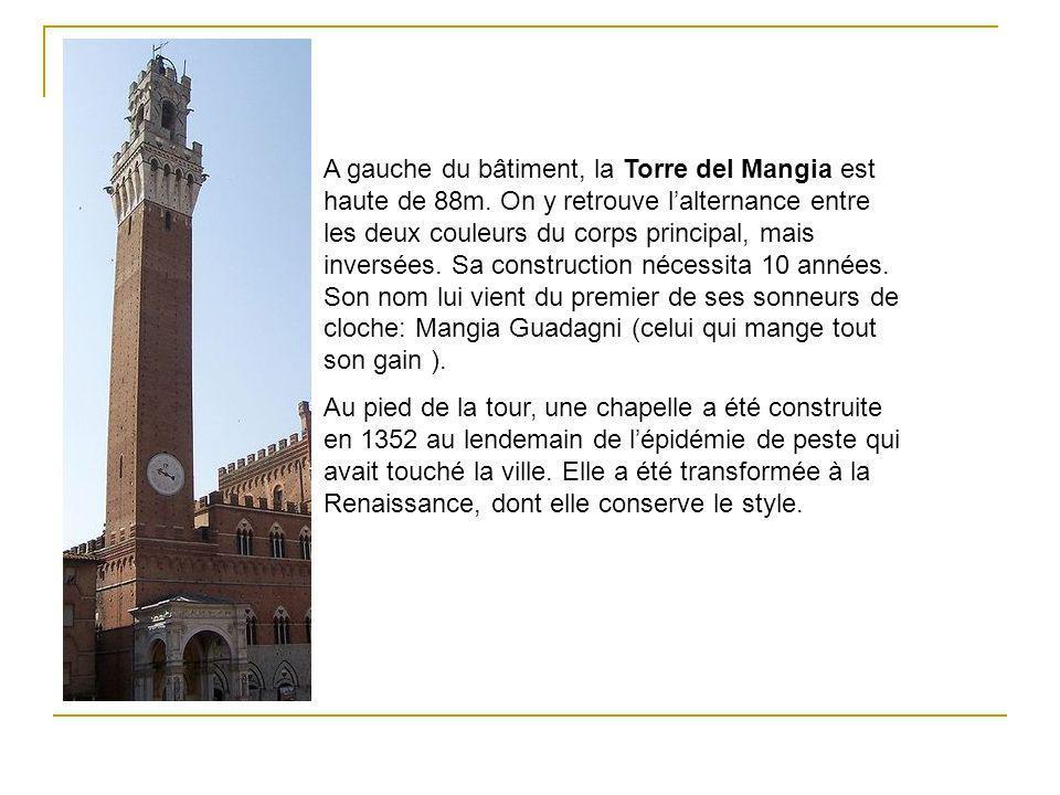 A gauche du bâtiment, la Torre del Mangia est haute de 88m