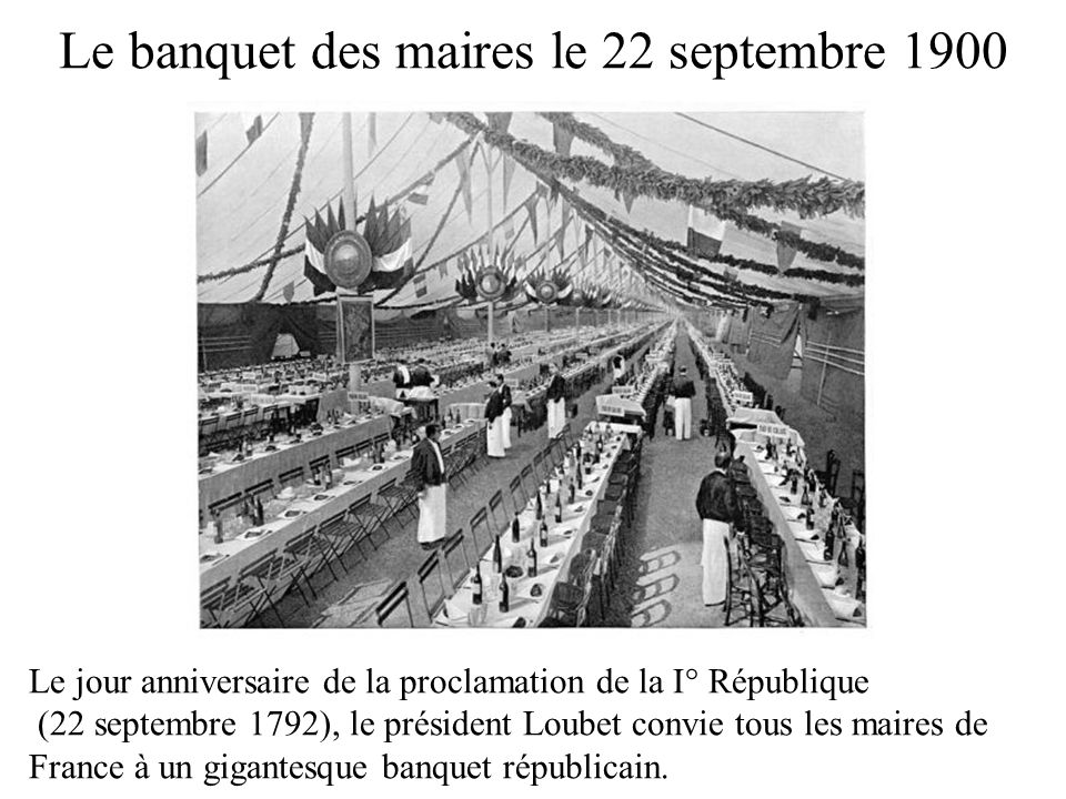 Le banquet des maires le 22 septembre 1900