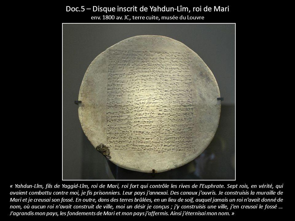 Doc.5 – Disque inscrit de Yahdun-Lîm, roi de Mari