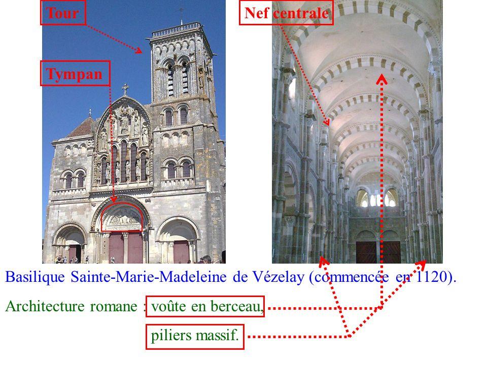 TourNef centrale. Tympan. Basilique Sainte-Marie-Madeleine de Vézelay (commencée en 1120). Architecture romane : voûte en berceau,
