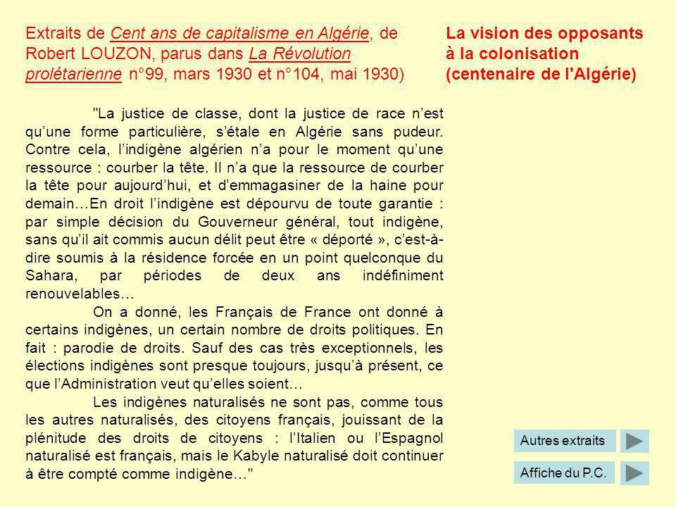 La vision des opposants à la colonisation (centenaire de l Algérie)