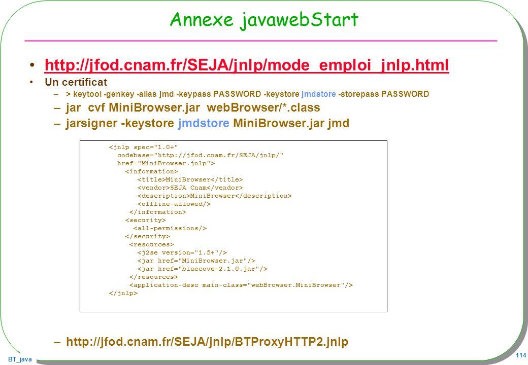 Annexe javawebStart http://jfod.cnam.fr/SEJA/jnlp/mode_emploi_jnlp.html. Un certificat.