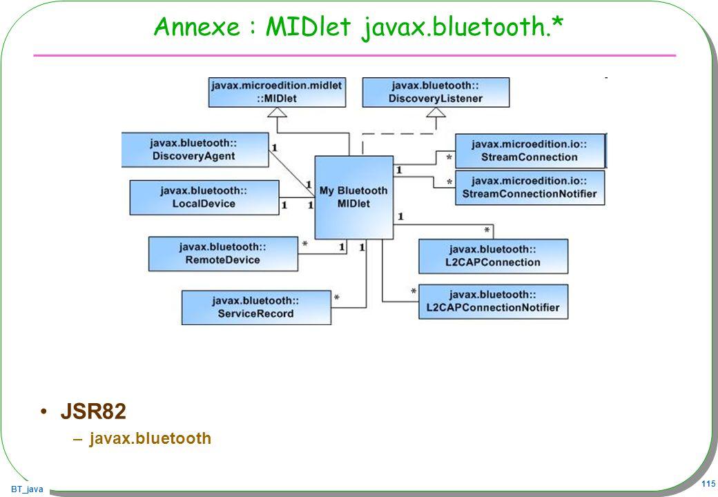 Annexe : MIDlet javax.bluetooth.*