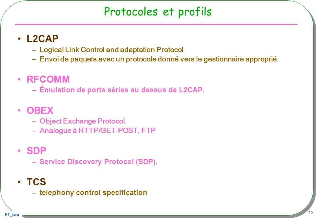 Protocoles et profils L2CAP RFCOMM OBEX SDP TCS