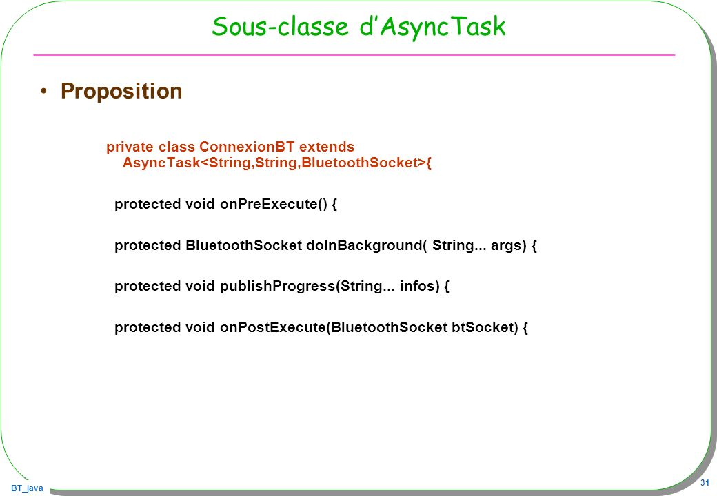Sous-classe d'AsyncTask