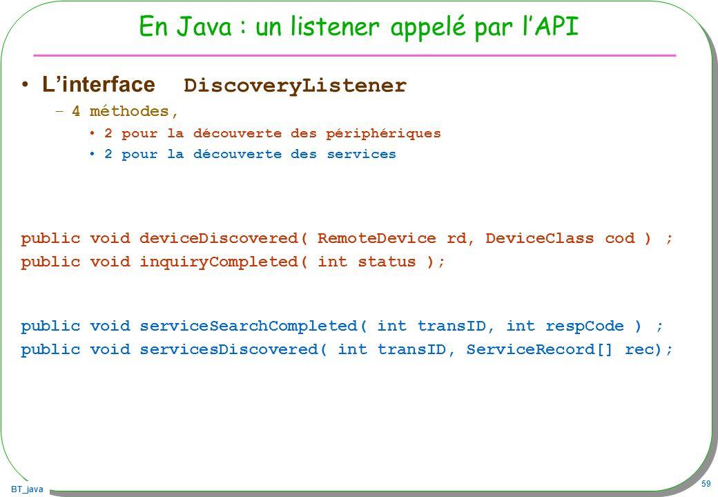 En Java : un listener appelé par l'API
