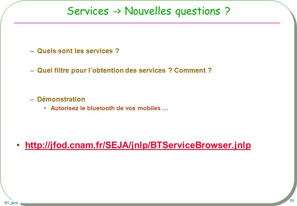 Services -> Nouvelles questions