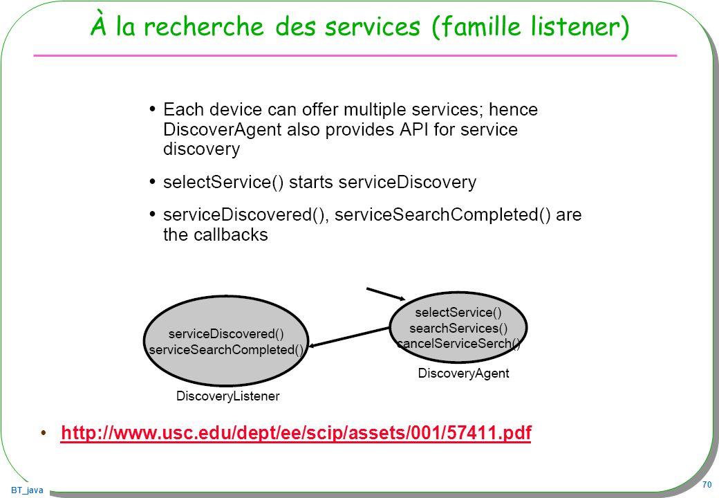 À la recherche des services (famille listener)