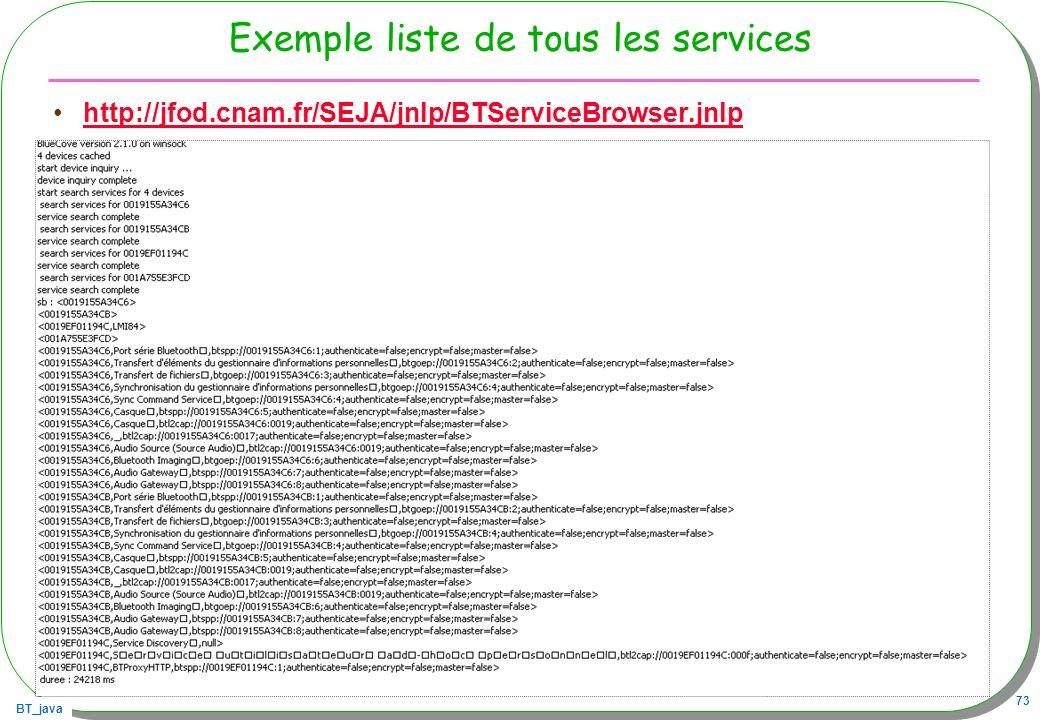 Exemple liste de tous les services