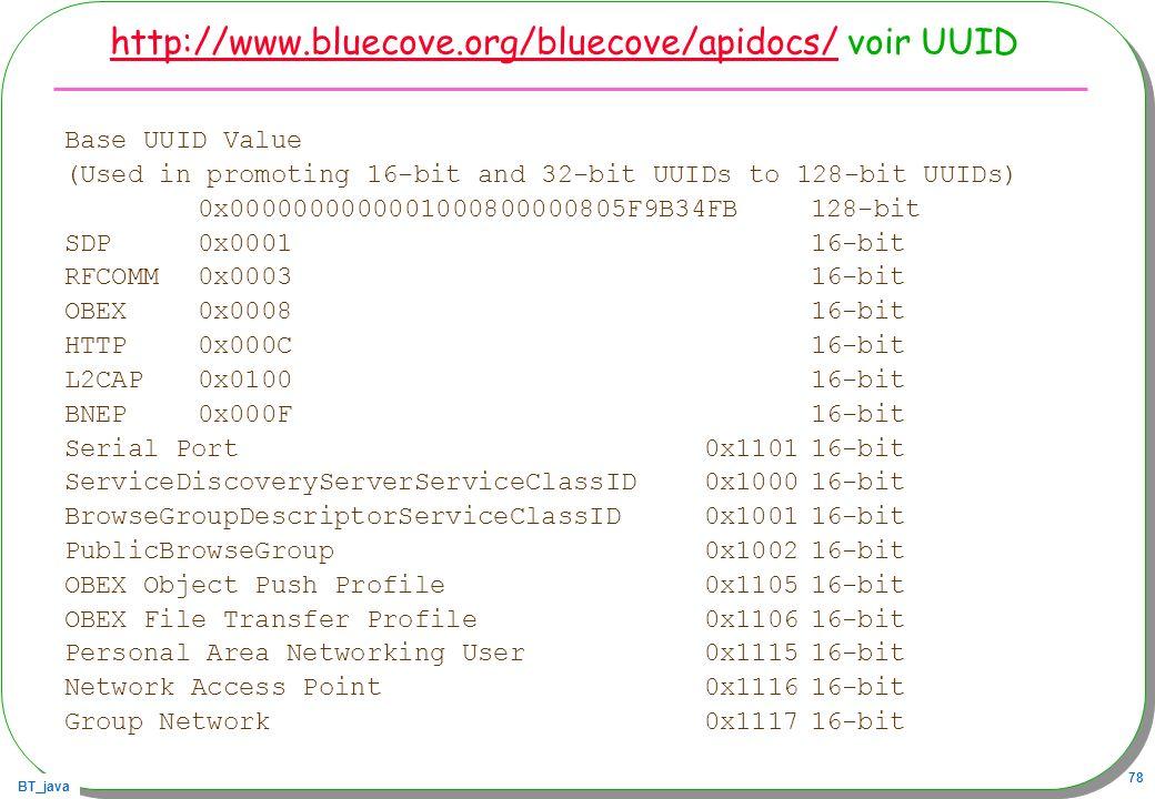 http://www.bluecove.org/bluecove/apidocs/ voir UUID